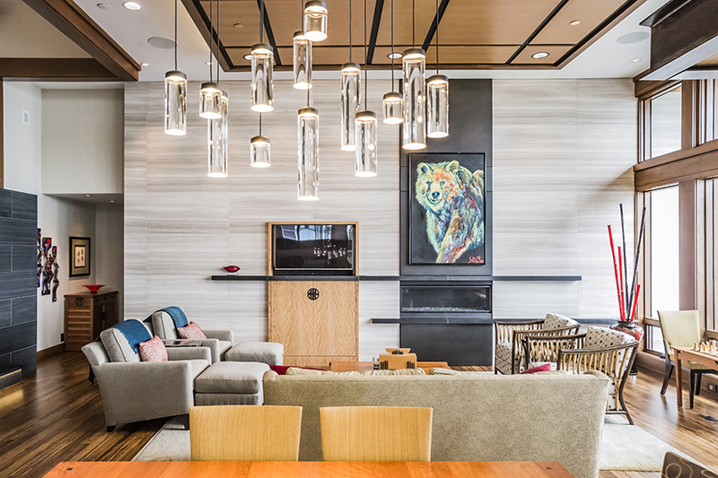 living room and light fixture at Kirkland home